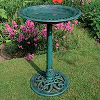 Green Pedestal Bird Bath