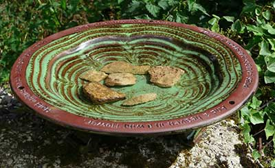 Echoes Glazed Bird Bath