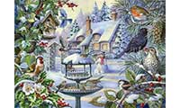 Winter Birds In Snowy Garden Jigsaw Puzzle