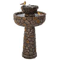 Cobbled Solar Powered Bird Bath