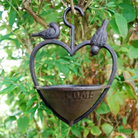Cast Iron Hanging Heart Bird Feeder