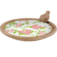 Rose Ceramic Bird Bath